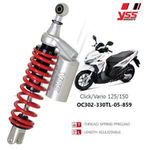 Phuộc YSS G-PLUS chính hãng cho xe máy Honda Vario, Click, Lead, SCR 125/150. Mã số OC302-330TL-10-X giá tốt nhất nhập khẩu trực tiếp từ Thái Lan.